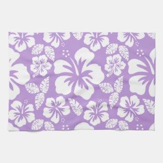 Lavender Hawaiian Tropical Hibiscus Kitchen Towel
