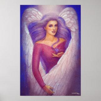 Lavender Heart Angel Spiritual Art Poster Print