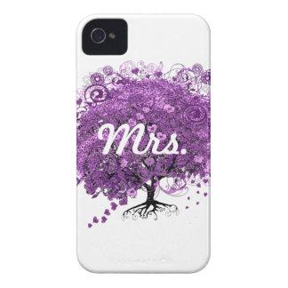Lavender Heart Leaf Tree Wedding Case-Mate iPhone 4 Cases