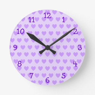Lavender Heart Pattern Wall Clock