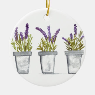 Lavender herb pots ceramic ornament