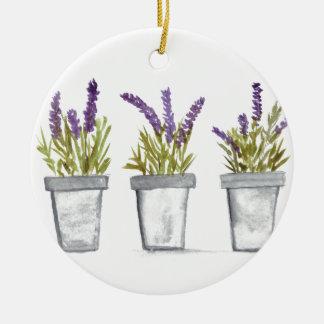 Lavender herb pots round ceramic ornament
