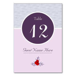 Lavender Holly Leaves & Berries Number Table Card