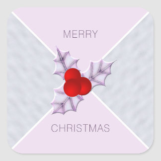 Lavender Holly Leaves Snow Merry Christmas Sticker