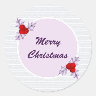 Lavender Holly Leaves Striped Christmas Sticker