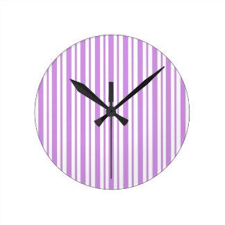 Lavender Horizontal Pinstripe Round Clock