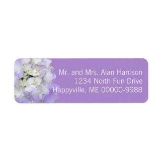 Lavender Hydrangea Floral Return Address Labels