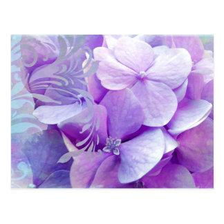 Lavender Hydrangea Floral Swirl Postcard