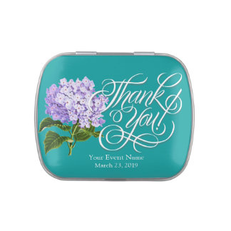 Lavender Hydrangea Thank You Party Favor Candy Tin