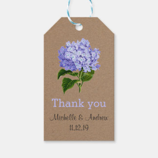 Lavender Hydrangeas Floral Thank You Wedding Pack Of Gift Tags