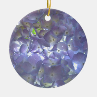Lavender Hydrangeas Round Ceramic Ornament
