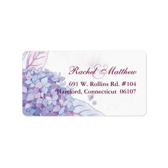 Lavender Hydrangeas Wedding Address Labels