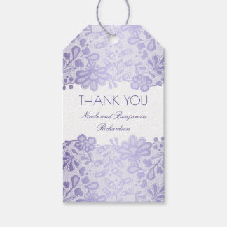 Lavender Lace White Elegant Wedding Gift Tags