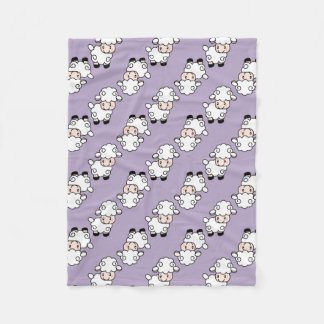 Lavender Lamb Sheep Fleece Blanket