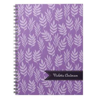Lavender Leaves Elegant Purple Pattern With Name Notebooks