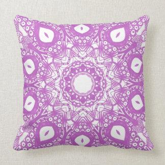 Lavender Light Purple Kaleidoscope Mandala Pillows