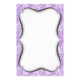 Lavender, Light Purple Paisley Personalized Stationery