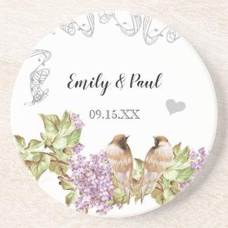 Lavender Lilac Vintage Love Birds Coasters