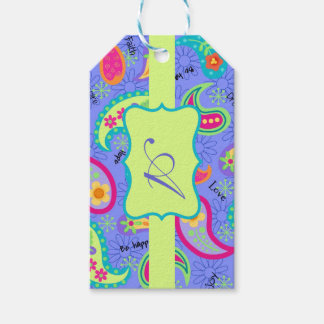 Lavender Lime Green Monogram Modern Paisley Gift Tags