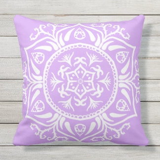 Lavender Mandala Outdoor Pillow