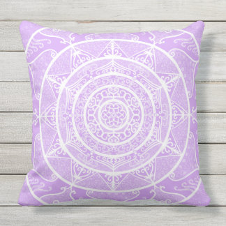 Lavender Mandala Outdoor Pillow