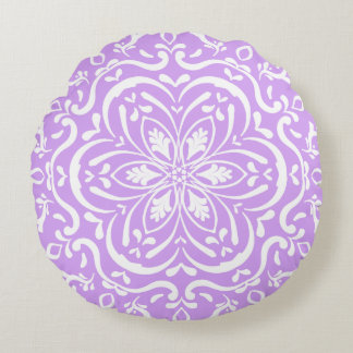 Lavender Mandala Round Pillow