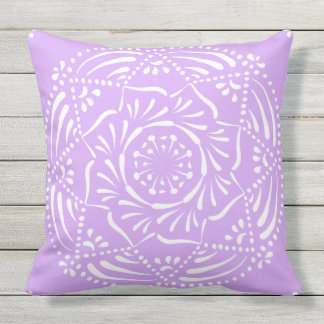 Lavender Mandala Throw Pillow