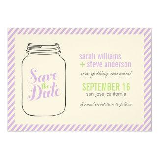 """Lavender Mason Jar Monogram Save The Date 5"""" X 7"""" Invitation Card"""