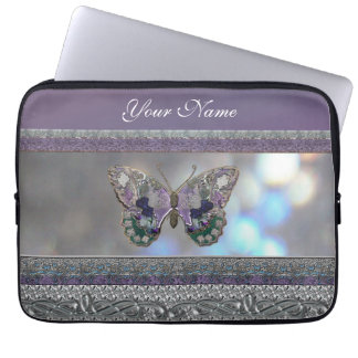 "Lavender Metallic Butterfly 13"" Laptop Sleeve"