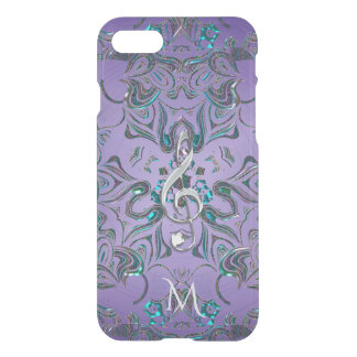 Lavender Metallic Monogram Mandala Music Clef iPhone 8/7 Case