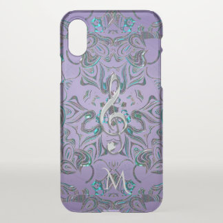 Lavender Metallic Monogram Mandala Music Clef iPhone X Case