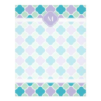 Lavender Mint and Turquoise Quatrefoil Pattern Letterhead Template