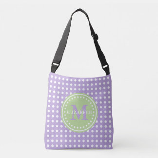 Lavender Mint Green Polka Dot Monogram Diaper Bag