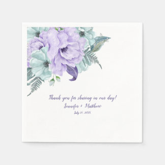 Lavender Mint Purple Watercolor Peonies Reception Napkin