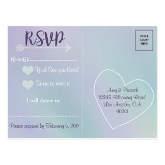 Lavender Mint Wedding RSVP Postcard