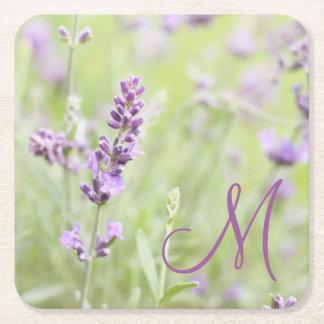 Lavender Monogram Square Paper Coaster