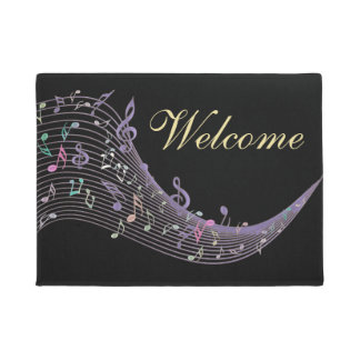 Lavender Music Notes Design Black Welcome Mat