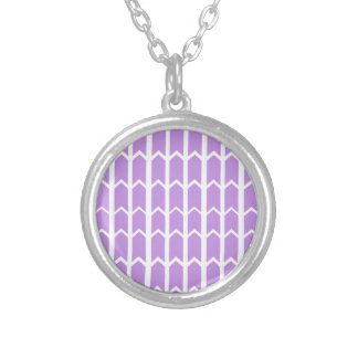 Lavender Panel Fence Silver Plated Necklace