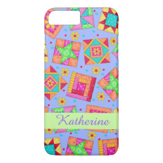 Lavender Patchwork Quilt Art Name Personalized iPhone 7 Plus Case