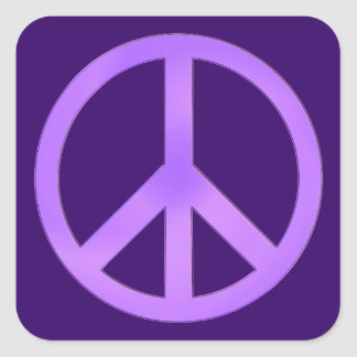 Lavender Peace Symbol Square Sticker