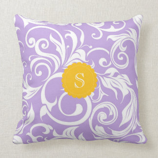 Lavender Peach Floral Wallpaper Swirl Monogram Throw Pillow