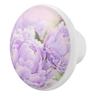 Lavender Peonies Ceramic Knob