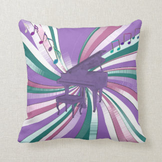 Lavender Piano and Musical Notes Throw Pillow