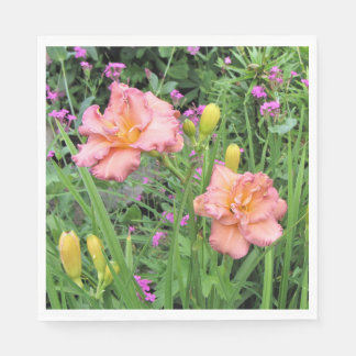 Lavender Pink Double Daylilies Paper Napkin
