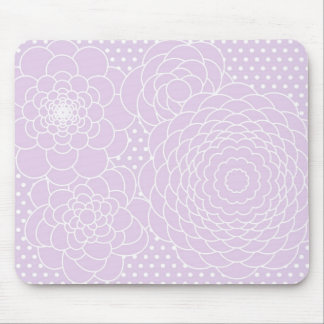 Lavender Pink Floral Design Modern Abstract Flower Mouse Pad