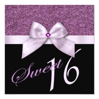Lavender Pink Glitter Gem Sweet Sixteen Birthday Card