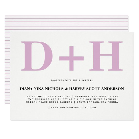 Lavender pink initials bold typography wedding card