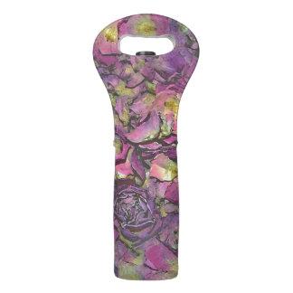 Lavender Pink Rose Petals Watercolor Wine Bag