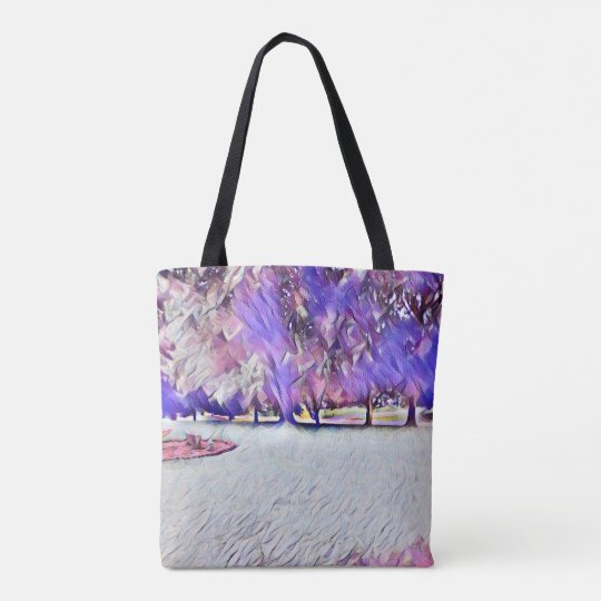 Lavender Pink Rose White Painted Landscape Tote