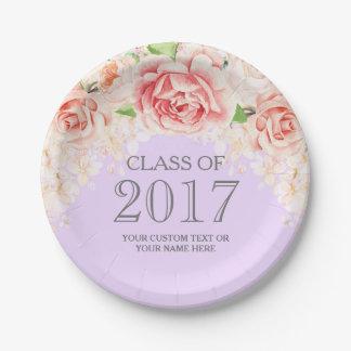 Lavender Pink Watercolor Flowers Graduation 2017 Paper Plate